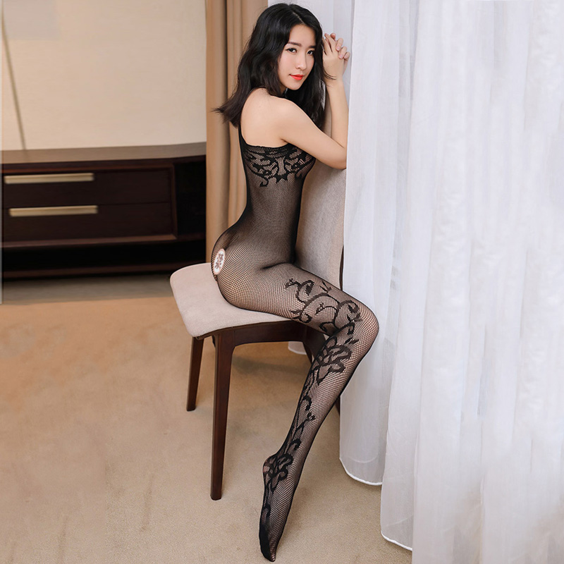 7242a7c2f1 Hot Sale 2017 Transparent Oblique Shoulder Open Crotch Bodystocking Women  Black Jacquard Tights Fishnet Pantyhose Sexy Lingerie-in Tights from  Underwear ...