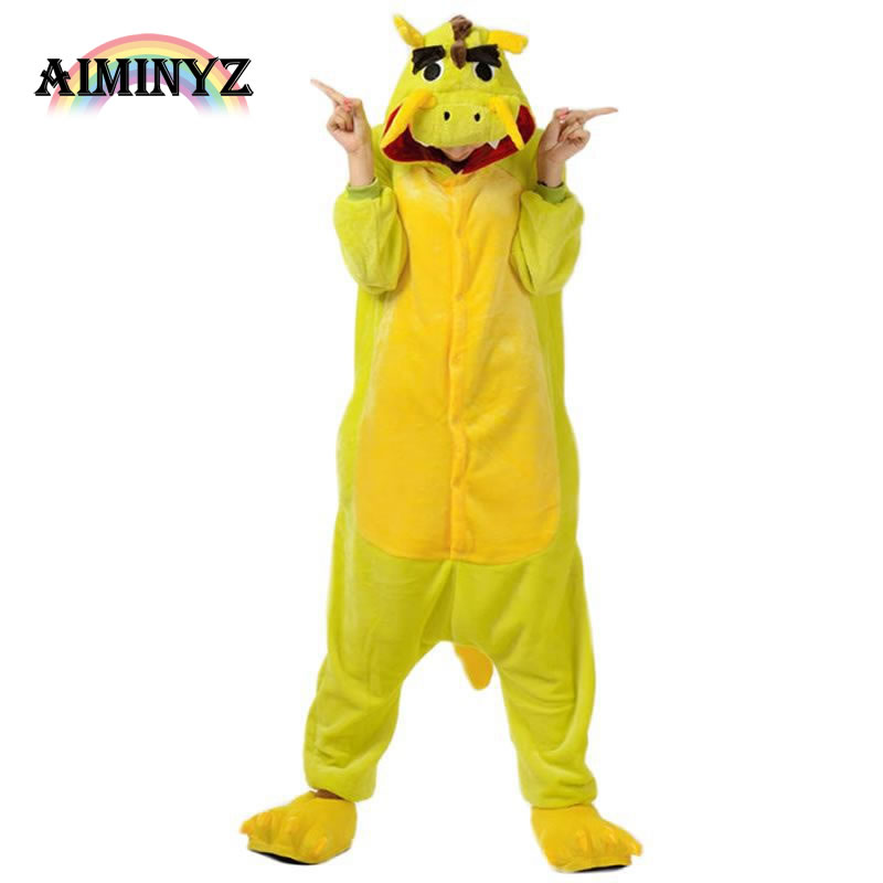 New Style Winter Chinese Dragon Unisex Adult Warm Flannel Hooded Onesies Pajamas Cartoon ...