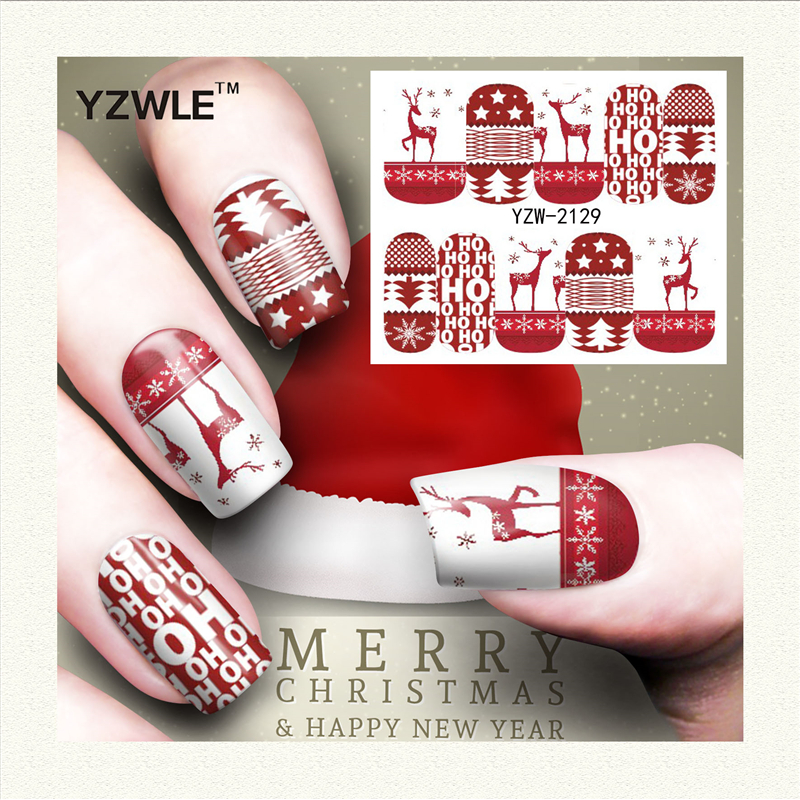 YZWLE 1 Sheet Christmas Design DIY Decals Nails Art Water Transfer Printing Stickers Accessories For Manicure Salon (YZW-2129)