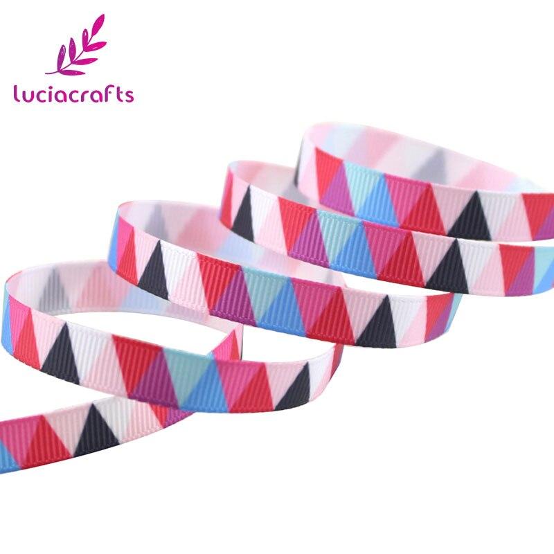 Lucia crafts 5y/6y 10 мм мульти вариант геометрический узор корсажная лента упаковочная лента DIY бант для волос и Швейные аксессуары S0609 - Цвет: Red 5y