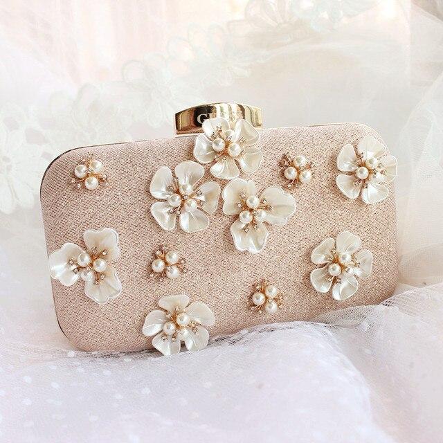 Elegante Mode Perle Perlen Blumen Mini Goldene Hochzeit Clutch