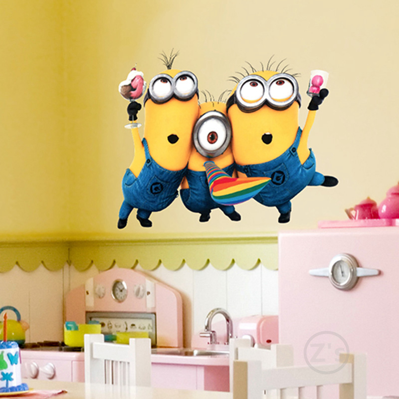 3 Minions wall sticker home decor Dave Stuart Tim Mark Phil Jerry ...