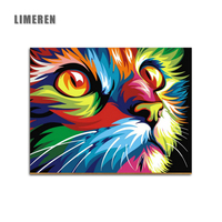 Frameless Drawing Cat Animals DIY Oil Painting By Numbers On Canvas Kits Coloring By Numbers Unique