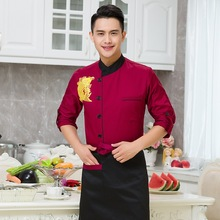 New Arrive 3 Colors Chef Service Long Sleeves Overalls Women Men Chef Uniforms Cook Coat Chef Jacket Restaurant Work Clothes