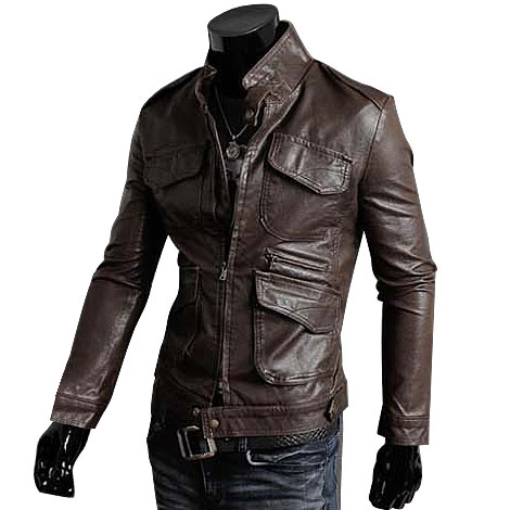 Free shipping 2015 new men's leather jacket Korean catwalks shall ...