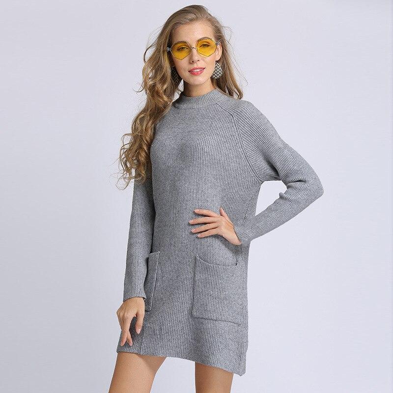 D'hiver Mini Tricot Tricoté gray Dress 2018 Printemps Robe Femmes Élégant Color Dress Automne Robes Dress Vintage Pour Lâche Blanc White Chandail Chandails Pulls solid qpx4Yw5v0f