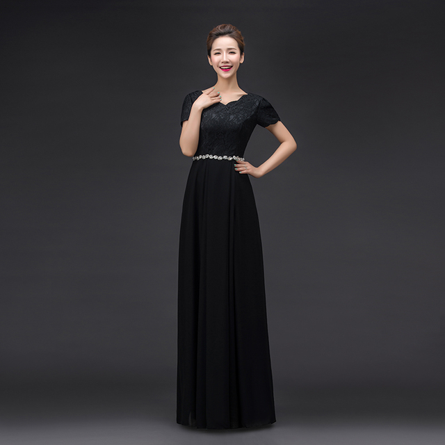 2017 new bride married short sleeve Zipper long O Neck Crystal Belt Black Bridesmaid dresses long lace Bridesmaid dress