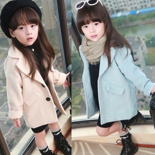 2018 Spring Fall Little Girls Fashion Wool Trench Coat Baby Kids Elegant Medium Woolen Jacket Overcoat Children's Outerwear G786 цены онлайн