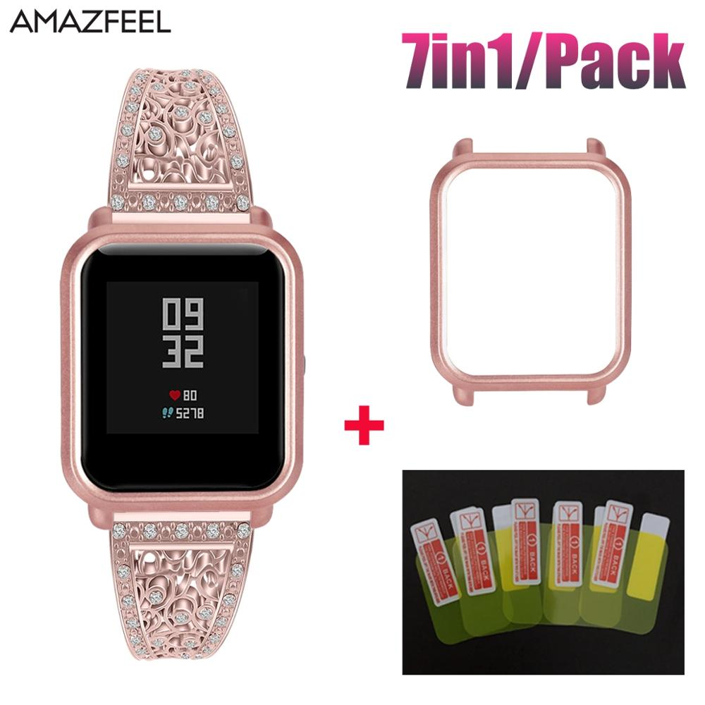 7in1 Luxury Bracelet For Amazfit Bip Lite Accessories Stainless Steel For Huami Amazfit Bip Strap Case Screen Protector
