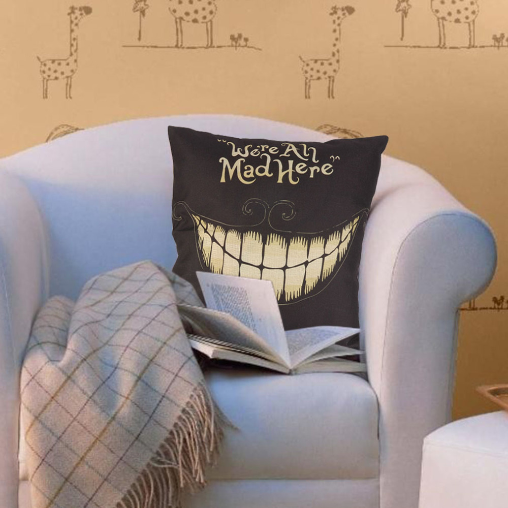 1Pcs Creative Funny Design Linen Home Decorative Pillow Cover Halloween Smile Face Pattern PillowCase Cushion Novelty Smiling