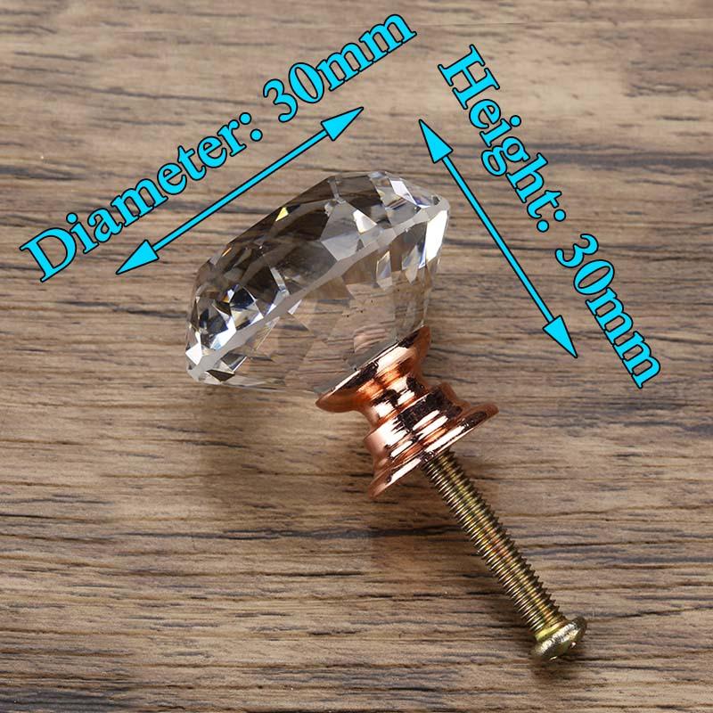 KAK 20-40 мм Алмазная форма дизайн Хрустальные стеклянные ручки шкаф выдвижной ящик Кухонный Шкаф Дверь Шкаф ручки Фурнитура - Цвет: Rose Gold Base
