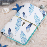 Never Light Blue Series Pu Leather Cover Travelers Notebook Cute Feather Planner Organizer Diary School Gift Stationery Supplies