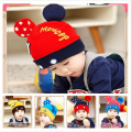 Fashion Baby Winter Hat with Ears Cute Solid Baby Crochet Hat Mickey Baby Beanie Hat Knitted Caps Girls and boy Winter Hat