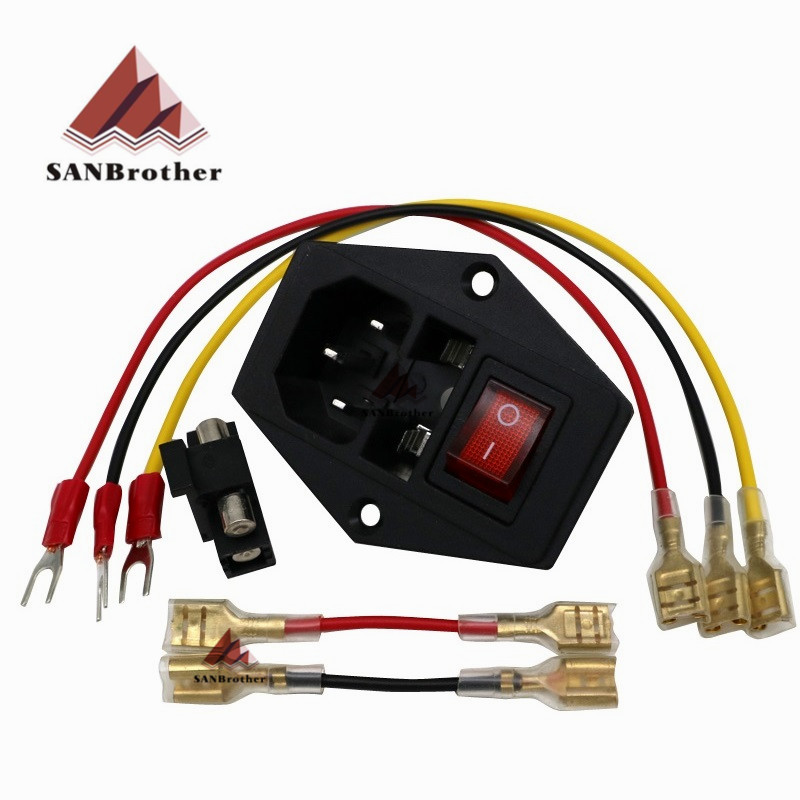 Hot 15A 250V Power Switch AC Power Outlet With Red Triple Rocker Switch Tripod Feet Of Copper With Fuse For 3d Printer