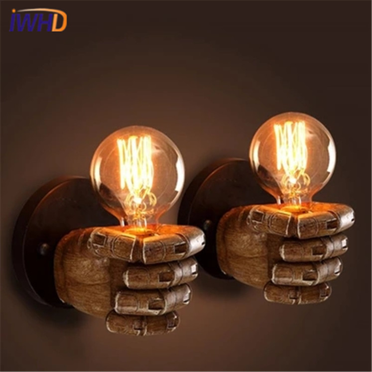 IWHD American Style Industrial Vintage Wall Light Loft Retro Resin Fist Arm Wall Lamp Edison Bulb Light Fixtures Home Lighting american edison loft style rope retro