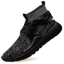 Dropshipping New Fashion Men High Top Soft Comfortable Mens Casual Shoes Male Brand Black Footwear Walking DB077