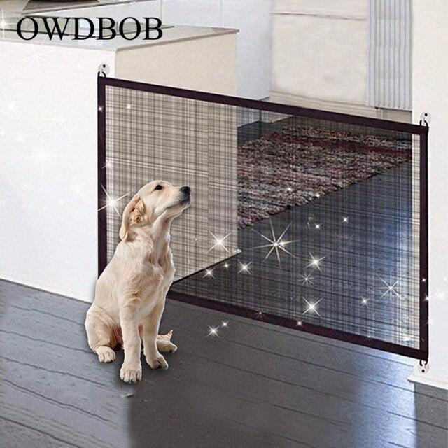 OWDBOB לחיות מחמד כלב גדרות קסם שער מתקפל בטוח משמר כלב בטיחות מארז הגנת קסם שער לכלבים חתולי חיות מחמד אבזרים