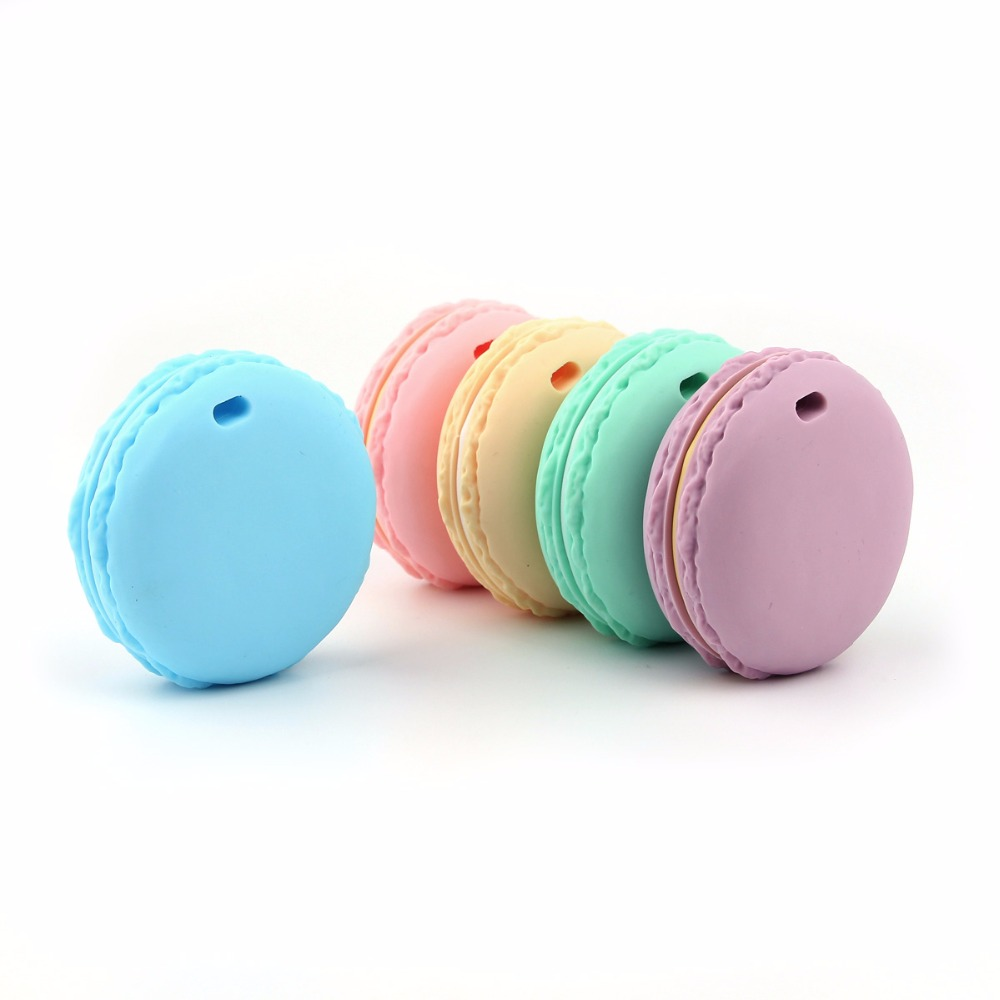 TYRY HU 10PC Silicone Donuts Baby Teething Beads Food Grade Cookies DIY Charms Necklace Pendants Accessories