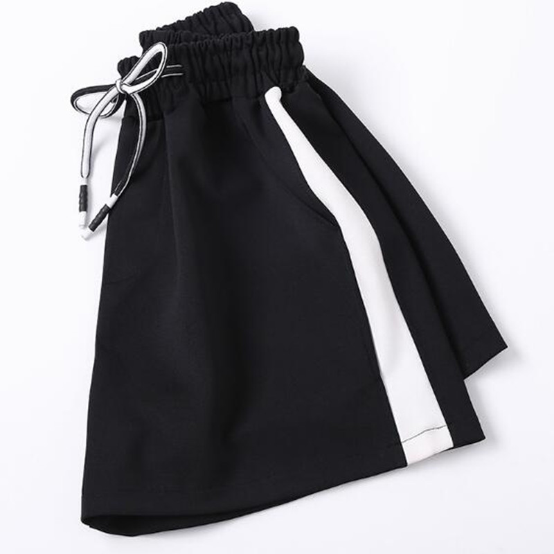 WKOUD Women   Shorts   White Striped Patchwork Black   Short   Pants Drawstring Waist Loose   Shorts   Summer Hot   Short   Casual Wear H1068