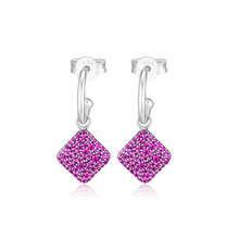 CKK 925 Sterling Silver Jewelry Timeless Elegance Dangle, Royal Purple Crystal Drop Errings DIY Making For Women