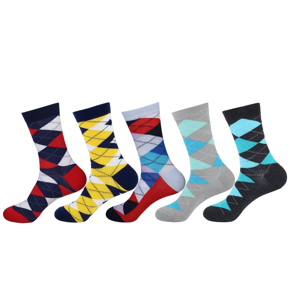 Fashion Colorful Mens Socks Cotton high quality Plaid Diamond Patterned Long Tube Socks Brand Mens Dress Socks 5 Pairs