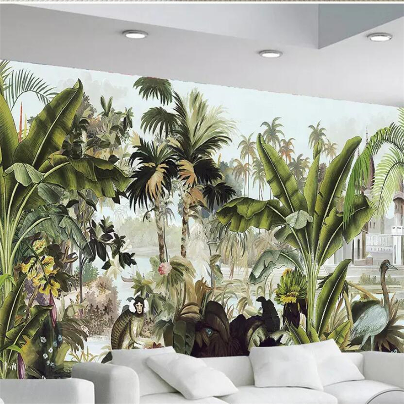 beibehang Custom wallpaper 3d photo mural green coconut tree tropical plant oil painting background papel de parede 3d wallpaper custom photo wallpaper 3d stereoscopic relief statue living room tv background wall painting wallpaper mural papel de parede 3d