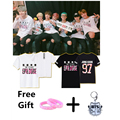 KPOP BTS Bangtan Мальчиков O шеи Jimin Jin V Jhope Юнг кук Рэп монстр хлопок лето с коротким рукавом мода футболка ти