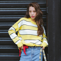 Pullover Women 2016 Autumn Winter Korean Style Casual Loose Batwing Sleeve Striped Sweater Knitwear Pink Yellow Blue Sueter T128