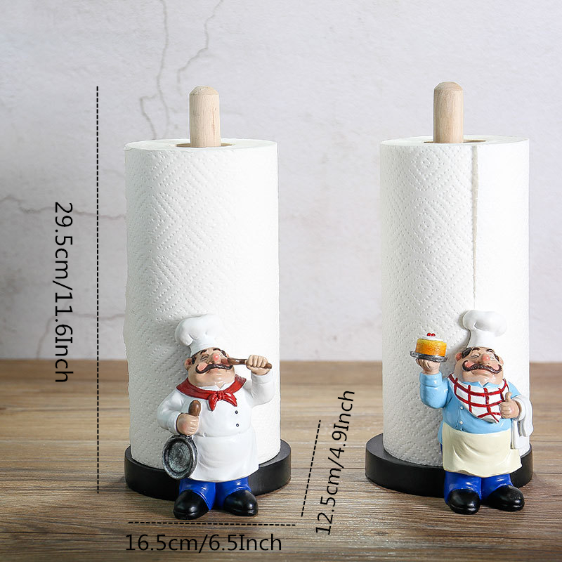 VILEAD 29 5cm Resin Chef Double Layer Paper Towel Holder Figurines Creative Home Cake Shop Restaurant Crafts Decoration Ornament in Figurines Miniatures from Home Garden