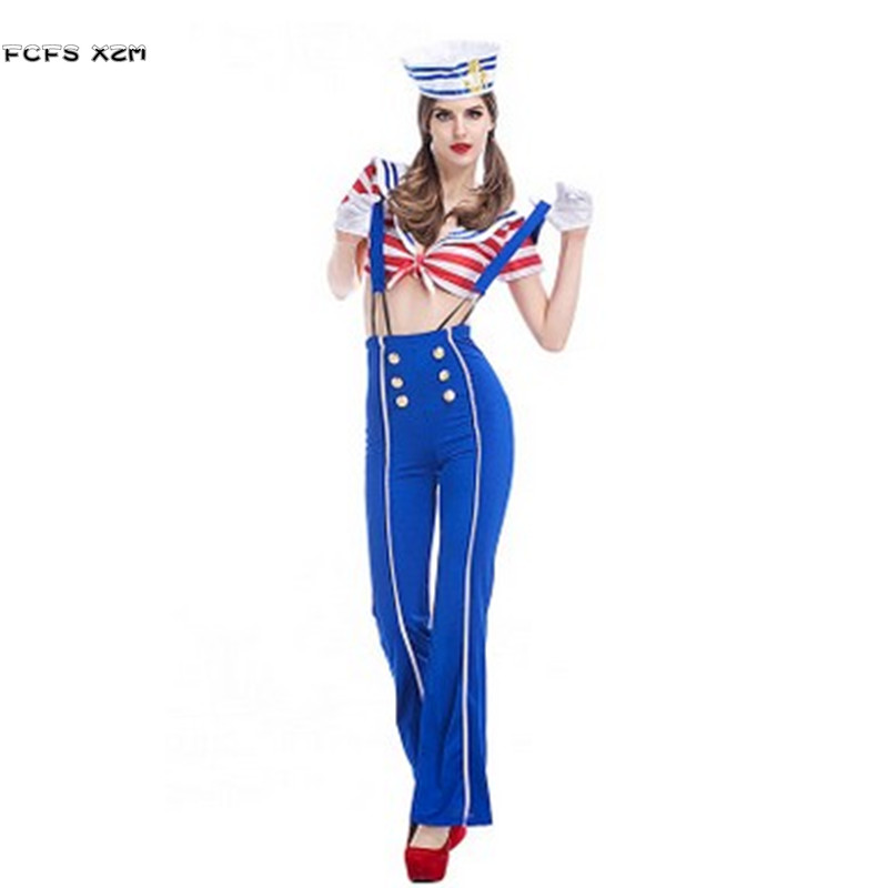 Women Halloween Sailor suit Costume Cosplay Female Navy uniform Role play Purim Christmas parade Carnival Masquerade party dress
