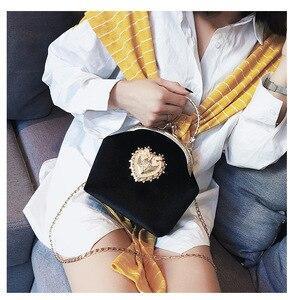 Image 5 - Female Velvet Pearl Handbag Vintage Velour Heart Design Evening Bag Wedding Party Bride Clutch Velour Bag Purse