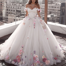 white wedding dresses 2019 sweetheart neckline hand made flowers 3d ball gown puffy bridal vestidos de noiva