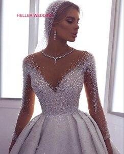 Image 2 - Vestido árabe luxuoso de casamento 2019, ilusão, pescoço, miçangas, vestido de baile, manga comprida, vestido de noiva