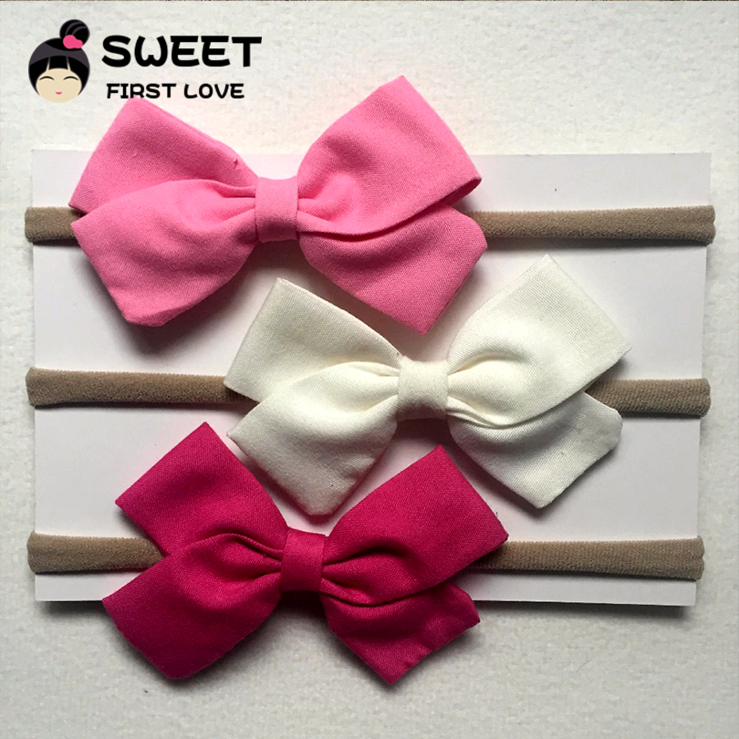 3 Pcs/lot Handmade solid Nylon Headband With 9 colors Bow For cute Kids Girls Hair Accessories High Quality cotton Headwear