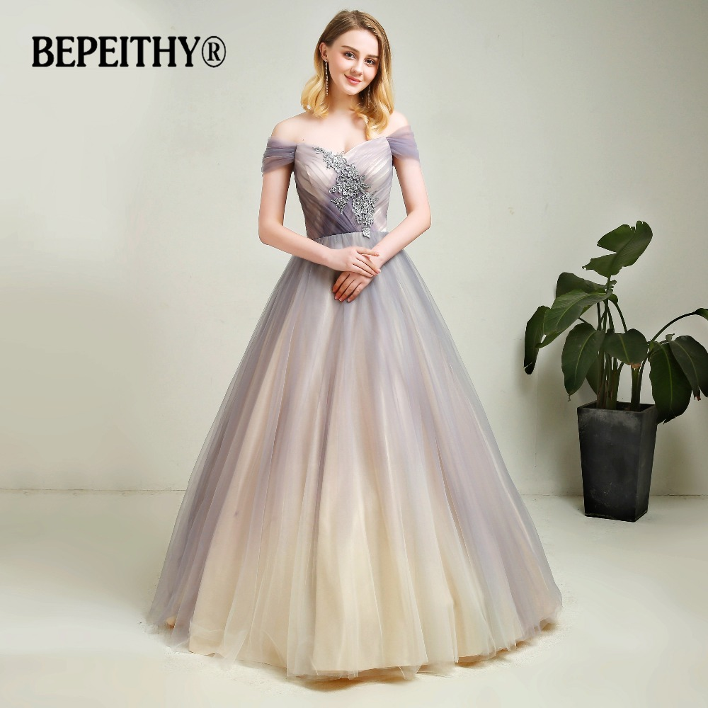 New Arrival Gray Gradient Tulle Long Evening Dress With Lace Vestidos De Festa 2019 Floor Length Vintage Prom Gowns 2019
