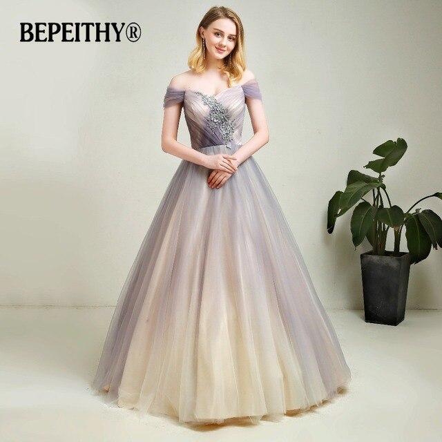 4e2ab230b379 New Arrival Gray Gradient Tulle Long Evening Dress With Lace Vestidos De  Festa 2019 Floor Length Vintage Prom Gowns 2019