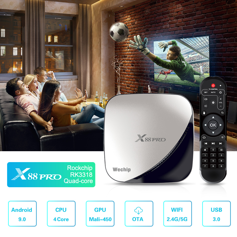 Wechip Top-Box X88 Pro Media-Player Wifi Android 9.0 VP9 USB3.0 Support OTA 4K 100M 3318