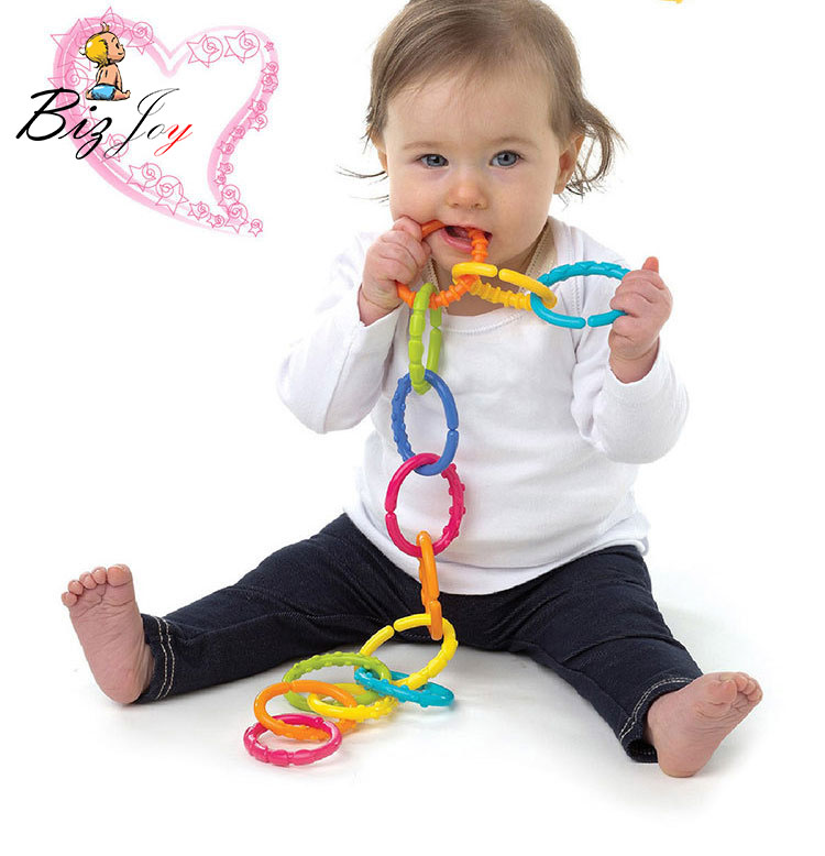 HOT 6pcs/set Baby Toys 0-12 Months Rainbow QQ Kids Molars Ring Teether Activity Teddy Chain Clutch Ring Apron Squishy Gift Doll