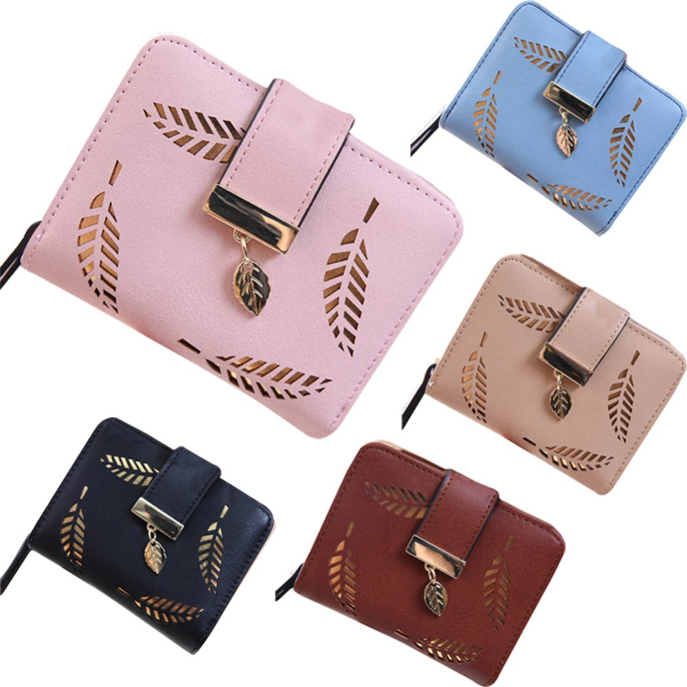New Fashion Female Wallet Short Paragraph Hollow Gold Leaf Small Purse Large Capacity Wallets WML99 embossed rhinestone hollow leaf ring