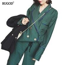 RUGOD 2017 New Arrival Fashion Pants Suits Women Blazer 2 Two Piece Set Striped Jacket & Pant Blazers Femme Mujer Plus Size