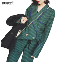 RUGOD 2018 New Arrival Fashion Pants Suits Women Blazer 2 Two Piece Set Striped Jacket & Pant Blazers Femme Mujer Plus Size