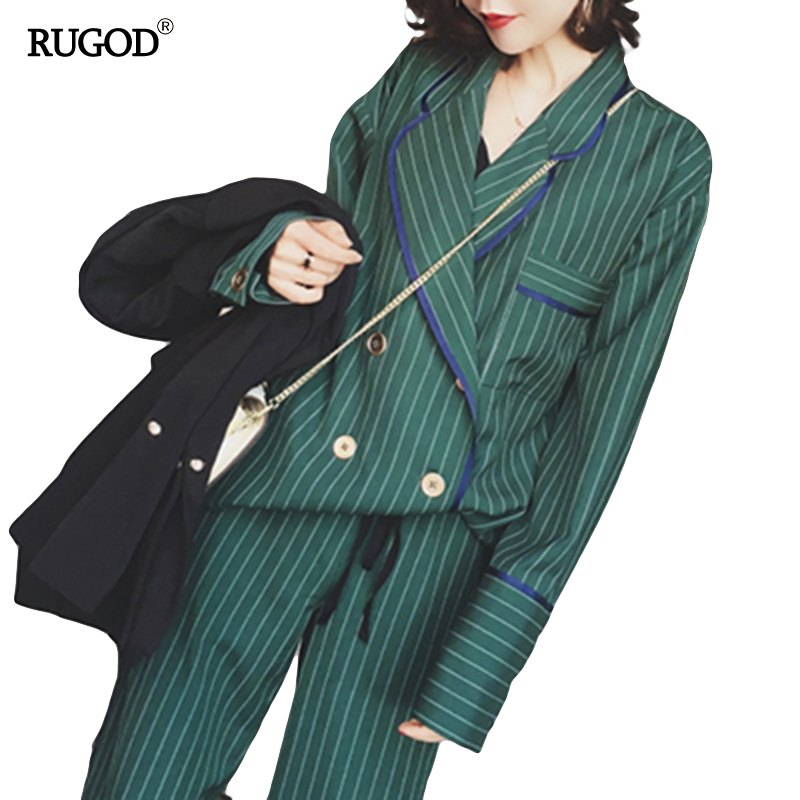 RUGOD 2019 New Arrival Fashion Pants Suits Women Blazer 2 Two Piece Set Striped Jacket & Pant Blazers Femme Mujer Plus Size
