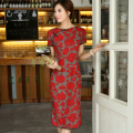 Shanghai Story Top Quality Cotton Linen cheongsam dress Chinese Women's Cheong-sam Big flower print Chinese Qipao dress AW082
