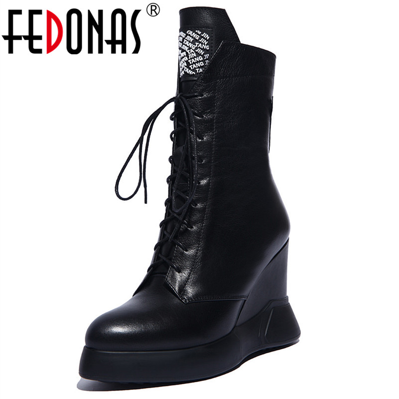 FEDONAS Brand Mid calf Boots For Women Rhinestone Party Wedding Shoes Woman Wedges High Heels Lace
