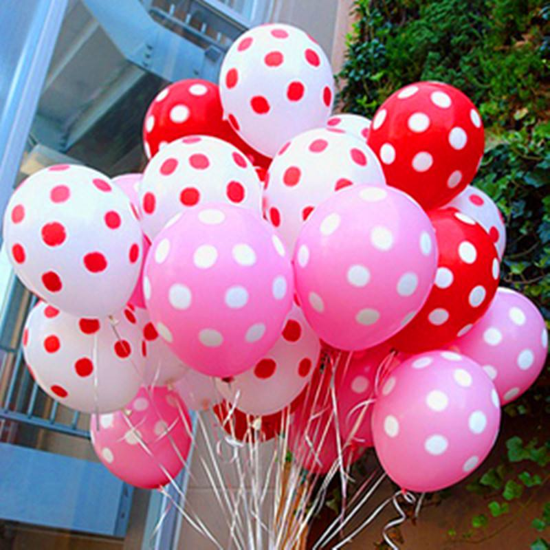 20pcs/Lot Latex Balloons of 12 Inch Polka Dot Wedding Decoration Supplies Minnie Mouse Party Supplies Balloons Multicolor