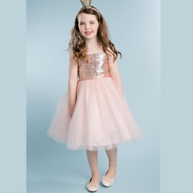 Lovely Rose Pink Sequined Flower Girl Dresses For Wedding