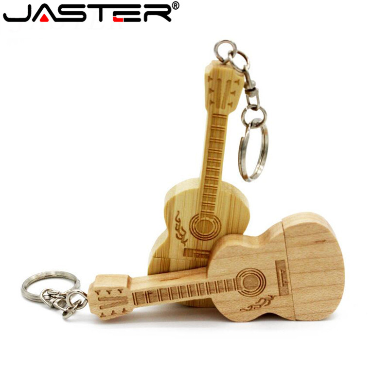 JASTER Metal Keychain Natural Wooden Bamboo Guitar Model Usb Flash Drive Pendrive 4GB 16GB 32GB 64GB Memory Stick LOGO Customize
