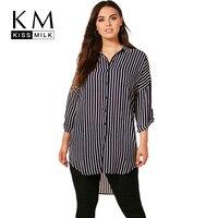 Kissmilk Plus Size Women Stripe Long Shirt Female Three Quarter Sleeve Drop Shoulder Blouse Ladies Low