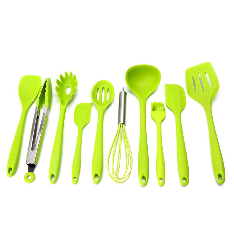 10pcs/set Cooking Accessories Resitant Silicone Kitchen Cooking Utensil Set Heat Resistant Cooking Tools Non-stick Bake Tool