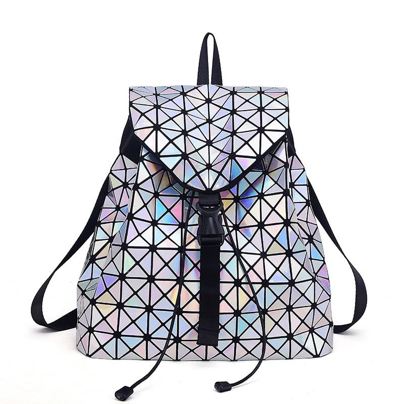Women backpacks female geometric Mirror Laser plaid backpack for teenage girls School book bag bolsa mochila bags 2018 travel